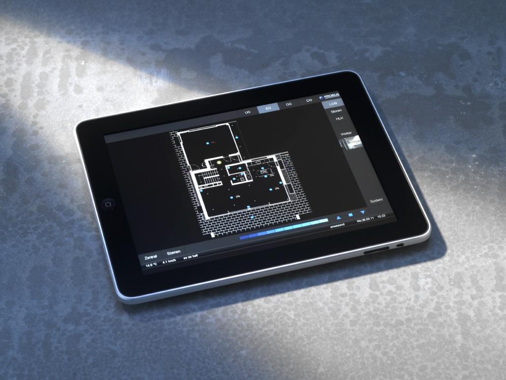 iPad mit Steuerungssoftware: Intelligentes Wohnen durch Gebäudeautomation